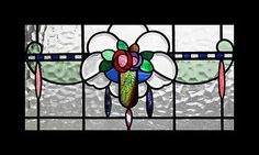 RARE BEVELLED ART NOUVEAU FLORAL ANTIQUE STAINED GLASS WINDOW