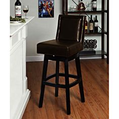 @Overstock.com - Brown Bicast Leather Swivel Barstool - Add a chic look to your kitchen, dining area, or bar setting with this brown leather swivel bar stool. Bicast leather and foam padding add luxury and comfort to this 360 swivel stool, perfect for seating at an island or a home bar.  http://www.overstock.com/Home-Garden/Brown-Bicast-Leather-Swivel-Barstool/6804384/product.html?CID=214117 $226.79