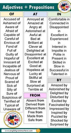 English The most common adjectives prepositions list - . - English Most Commonly Used Adjectives Prepositions List – # most common - Teaching English Grammar, English Writing Skills, English Vocabulary Words, Learn English Words, Grammar And Vocabulary, English Phrases, English Language Learning, English Study, English English