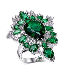 La Mia Cara Jewelry - Prestigio - Emerald Green or Montana Blue CZ Diamond Platinum Ring