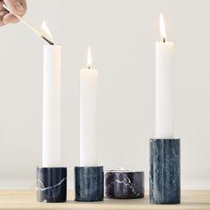 fermliving marble candleholder large black kandelaar