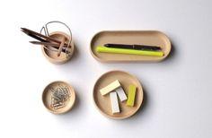 Wooden desktop organizer items