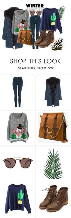 """Sweater Weather"" by melli-ssa on Polyvore featuring moda, Topshop, Yves Salomon, Chloé, Oliver Peoples, Nika, pretty, MyStyle, women i sweaterweather"