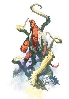 Hellboy Watercolor Painting by Mike Mignola Comic Art Comic Book Artists, Comic Artist, Hellboy Tattoo, Mike Mignola Art, Comic Layout, Manga Illustration, Illustrations, Horror Art, Character Design Inspiration