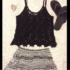 Lace Black Top Love this see through lace black top. Great for warm weather attire! You can dress either up or down! If you are tall enough it's. Little bit of a crop top Iris Los Angeles Tops Crop Tops