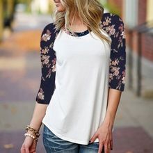 Blusas 2016 Autumn Women Female Casual Leisure O Neck Vintage Floral Print Tee Tops Ladies Elegant 3/4 Sleeve Patchwork T-shirt(China (Mainland))
