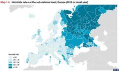 Homicidios en Europa por 100.000 habitantes
