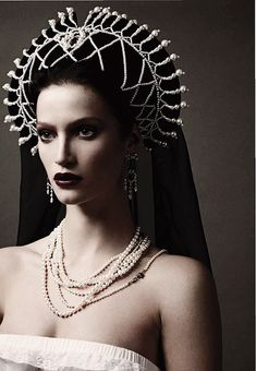 """Russian Ornaments"" Marta Berzkalna by Mariano Vivanco for Vogue Russia April 2011 -- Some kind of headpiece for my wig maybe??"