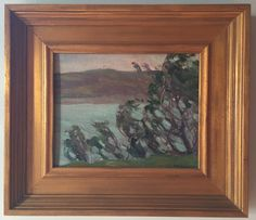 "Nellie A. Knopf, ""Trees along Ogunquit Coast""."