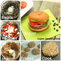 Veggie Black Bean Burger - make ahead and freeze and then have anytime you need dinner in a hurry!  www.superhealthykids.com
