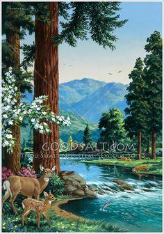 Wildlife Paintings, Nature Paintings, Wildlife Art, Landscape Paintings, Art Et Nature, Image Nature, Paradise Painting, Paradise Pictures, Foto Picture