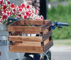 Wooden Bike Basket by Meriwether - I want to carry my puppy in this, as well as some fresh picked posies :)