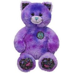 692d089ec59 BUILD A BEAR PURPLE TYE DYE BFF PEACE KITTY CAT RARE PLUSH DOLL BIRTHDAY  GIFT