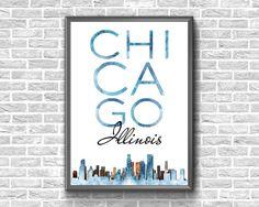 Items similar to Chicago Skyline Chicago City, Chicago Skyline, Chicago Illinois, Printable Maps, Printable Wall Art, Printables, Chicago Poster, Etsy Handmade, Art Boards