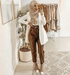 Hijab Fashion, Fashion Outfits, Mode Hijab, Work Pants, Duster Coat, Jackets, Clothes, Style, Kitchens