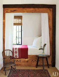 Cozy sleeping nook with steel mullioned window (that opens! Napa home by architect, Bobby McAlpine. A child's guest room features a chalet-style box bed that has been nicknamed the Heidi Nook; the Windsor chair is English. Bedroom Nook, Home Decor Bedroom, Kids Bedroom, Closet Bed Nook, Closet Space, Bedroom Furniture, Master Bedroom, Alcove Bed, Sleeping Nook