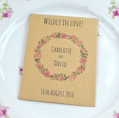 Gorgeous Wildly in Love seed wedding favour made from recycled paper and containing British wildflower seeds. Eco wedding favours.