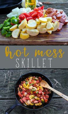 One of our favorite camping meals : Hot Mess Skillet. Made with smoked kielbasa and fresh produce from Tennessee road side markets. So YUM! #camping #skillet #recipe