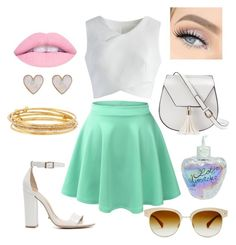 """""""✌️❤️"""" by nicabianca on Polyvore featuring Chicwish, LE3NO, Schutz, Yoki, Oliver Peoples, Kate Spade, New Look and Lolita Lempicka"""