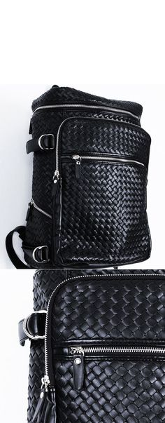 Accessories :: Bags :: Lux Braided Multi Zipper Sqaure Backpack-Bag 114 - Mens Fashion Clothing For An Attractive Guy Look