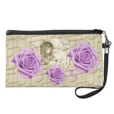 Carousel Dreams Vintage Purple Rose Music Wristlet #wristlet #womens #handbag #mom #baby #carouseldreams #purple #rose #music #moondreamsmusic #vintage