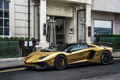 Gold Lamborghini Aventador SV #lamborghini #luxury #aventador