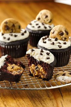 Surprise cookie dough center in these chocolate cupcakes!