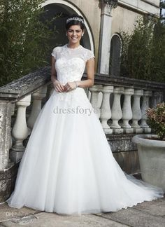 A-line wedding dress organza floor length applique high neck button white.