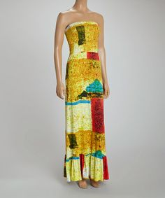 Another great find on #zulily! Gold Geometric Strapless Maxi Dress #zulilyfinds