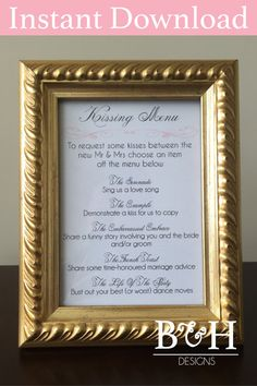 Printable Instant Download Pink Kissing Menu Wedding Kissing Game Wedding…