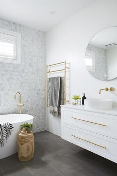 Home Interior Salas .Home Interior Salas Bathroom Renos, Laundry In Bathroom, Bathroom Renovations, Small Bathroom, Bathroom Ideas, Gold Bathroom, Bathroom Mirrors, Bathroom Organization, Grey Floor Tiles Bathroom