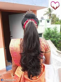 You searched for: marriage event candles! Look up of handmade, old-fashioned, and special merchandise and presents related to your quest. South Indian Wedding Hairstyles, Bridal Hairstyle Indian Wedding, Bridal Hair Buns, Bridal Hairdo, Bridal Hair Flowers, Open Hairstyles, Ethnic Hairstyles, Ponytail Hairstyles, Bride Hairstyles