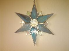 Stained Glass Star, Streaky Aqua with Crystal Bevels, Faceted Crystal Jewel, Rainbow maker, Handcrafted Home Window Decor