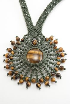 Tiger Eye macrame necklace. Tiger Eye beads. Waxed linen. Adjustable with sliding knot.