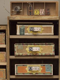 Vintage Wooden Toy Blocks in Cigar Boxes