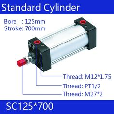 211.97$  Buy here - http://alijim.worldwells.pw/go.php?t=32493659706 - SC125*700 Free shipping Standard air cylinders valve 125mm bore 700mm stroke single rod double acting pneumatic cylinder 211.97$