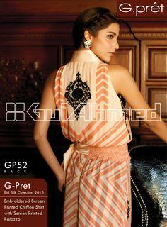 GP-52. Embroidered Screen Printed Chiffon Shirt with Screen Printed Palazzo