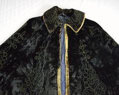 Antique 1800's Victorian Black Velvet Fur Embroidered Beaded Cape Coat Jacket M