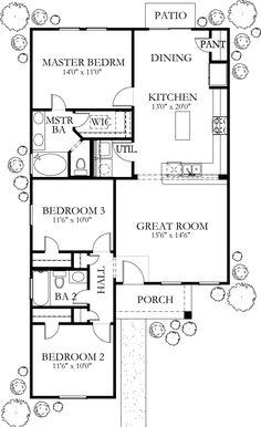 Mediterranean Style House Plan - 3 Beds 2 Baths 1200 Sq/Ft Plan #80-132 Floor Plan - Main Floor Plan - Houseplans.com