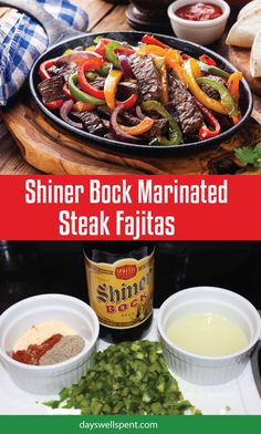 Shiner Bock Marinated Steak Fajitas recipe. Beef fajitas marinated in Shiner Bock beer, peppers, lime juice, and spices. Served with peppers and onions.