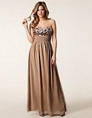 Sequin Bust Maxi Dress - Little Mistress - Taupe - Festkjoler - Tøj - NELLY.COM