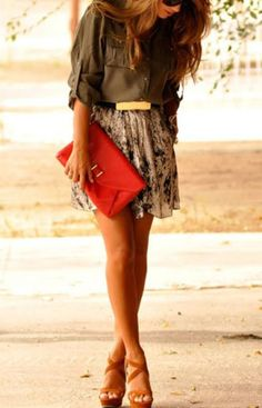 Women's fashion | Belted khaki blouse with patterned skirt and clutch