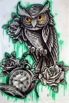 Owl with clock n rose tattoo flash