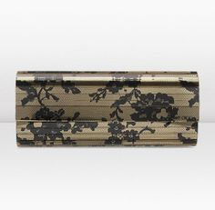 2013/PRE FALL ■ Jimmy Choo ■SWEETIE Black and Gold Lace Print Acrylic Clutch Bag