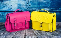 Gale genuine leather bags by Millisimo, in pink and yellow.