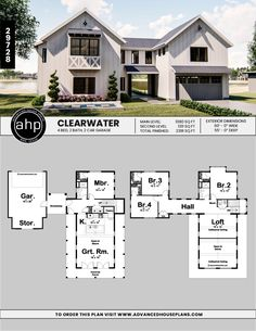 This Modern Farmhouse lake house plan is highlighted by a detached 2 car garage with breezeway and wrap around rear porch. Beach House Plans, Dream House Plans, Barn Style House Plans, Metal House Plans, Modern Barn House, Garage House Plans, Carport Modern, Barndominium Floor Plans, House Windows