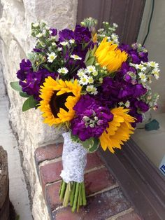 Sunflowers, stock and monte casino (little white flower) create a summery bridal. Sunflowers, stock and monte casino (little white flower) create a summery bridal bouquet! Yellow Bouquets, Purple Wedding Bouquets, Plum Wedding, Sunflower Bouquets, Floral Wedding, Fall Wedding, Wedding Colors, Wedding Flowers, Dream Wedding