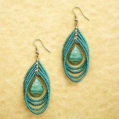 Avenue Aqua Seed Beaded  Teardrop Earrings