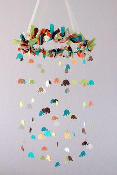 Elephant Nursery Mobile in Turquoise, Orange, Green, Brown & White- Nursery Decor, Baby Shower Gift. $63.00, via Etsy.