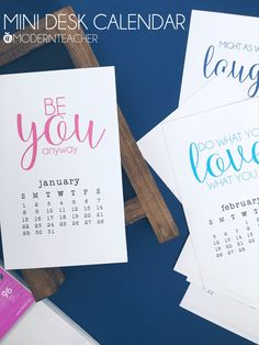 Printable Mini Desk Calendar 2017 - This calendar will inspire and encourage you all year long!